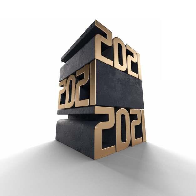 3D立体风格金色黑色2021年字体476236png图片素材