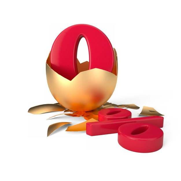 砸开的金蛋中的3D立体0%百分比765179png图片素材