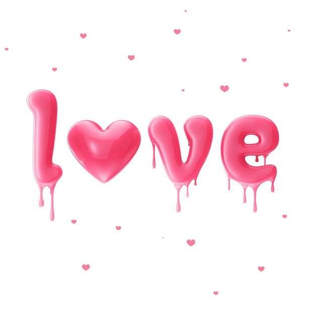 3D立体风格融化效果的红色LOVE字体746689png图片素材
