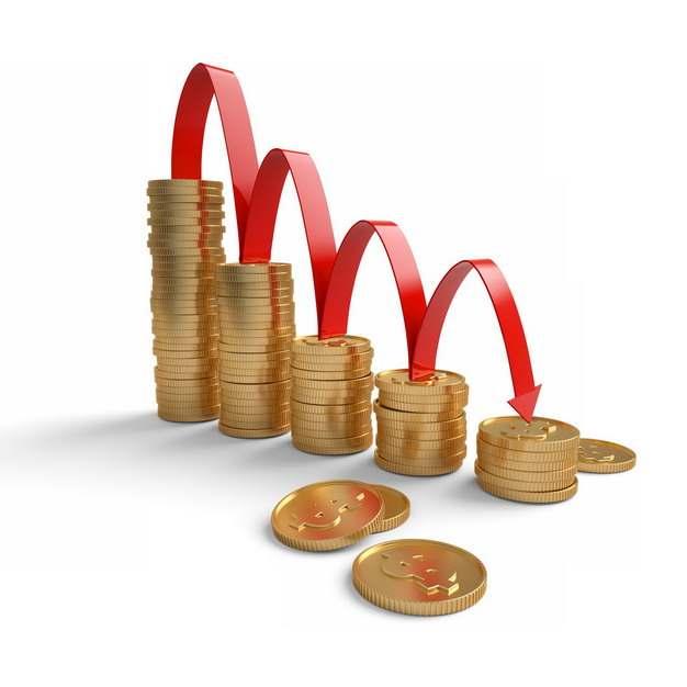 3D立体风格叠加的金币和不断下降的红色箭头象征了经济股市危机813883png图片素材