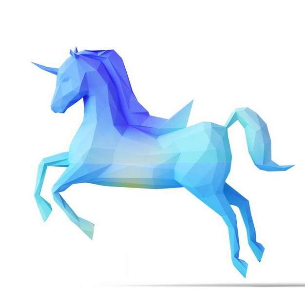 低多边形风格蓝紫色独角兽骏马746412png图片素材