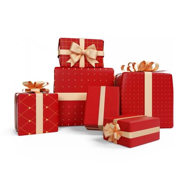 一大堆包装精美的红色礼物盒595757png图片免抠素材