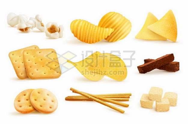 爆米花波浪薯片曲奇饼干巧克力等美味零食247163png矢量图片素材