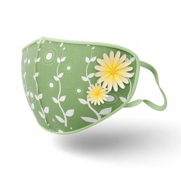 3D立体黄色花朵装饰的绿色棉布口罩183209png图片素材