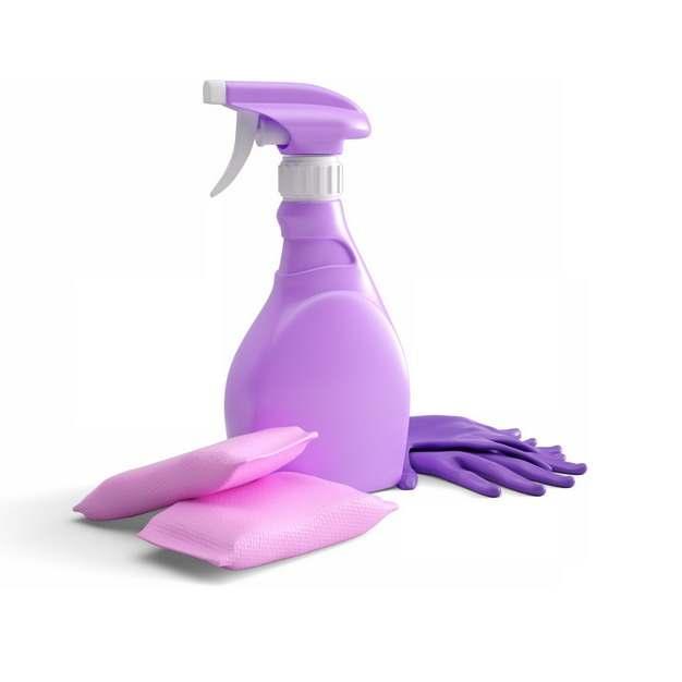 紫红色洗涤剂洗洁精和橡胶手套洗碗海绵510849png图片素材