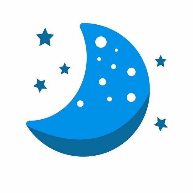 蓝色的卡通弯月和星星晚安插画800131png图片素材