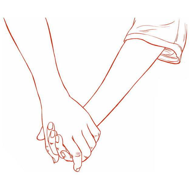 手牵手的情侣情人节手绘线条素描插画337792免抠图片素材