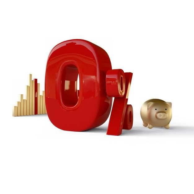 3D立体金色柱形图小猪储蓄罐和红色0%百分比金融经济374324png图片素材