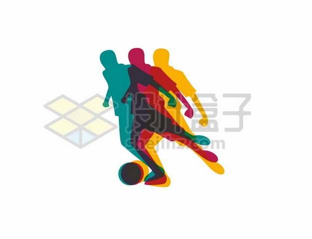 彩色重影风格踢足球剪影338593图片素材