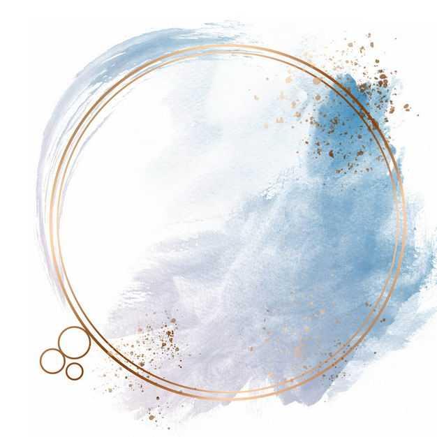 金色圆形边框和蓝色墨水渍装饰231725免抠图片素材