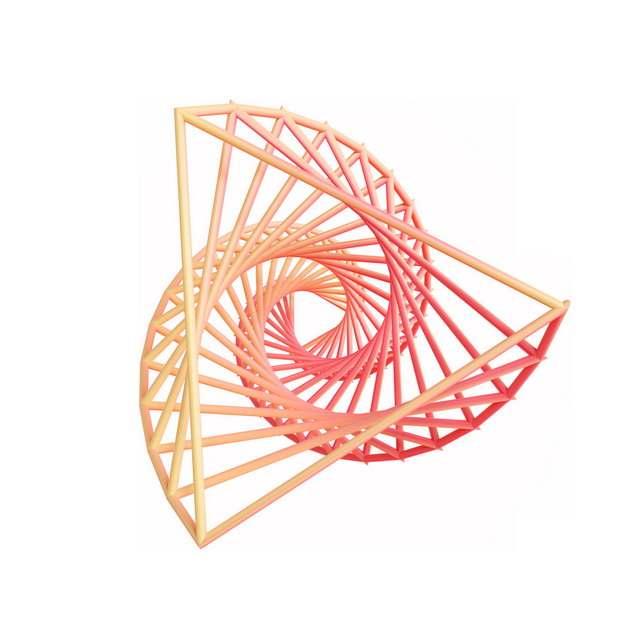 3D立体粉色线条组成的抽象螺旋图案700651png图片素材