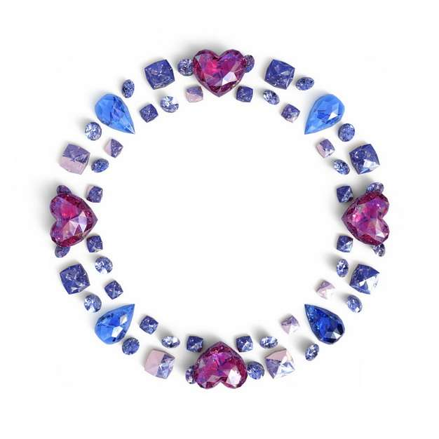 摆成一圈的蓝宝石红宝石蓝水晶红水晶357677png图片素材