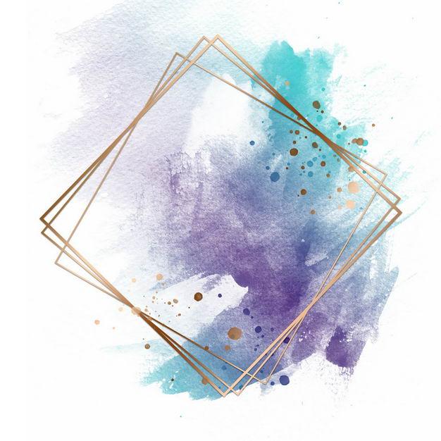 金色四边形边框和彩色墨水渍装饰193768免抠图片素材