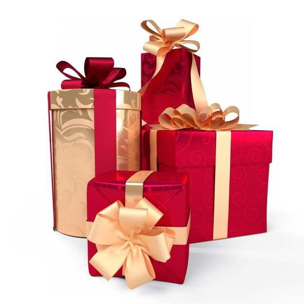 一堆包装精美的金色和红色礼物盒745522png图片免抠素材