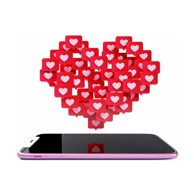 3D立体手机屏幕上红心图标组成的心形图案707924png图片素材