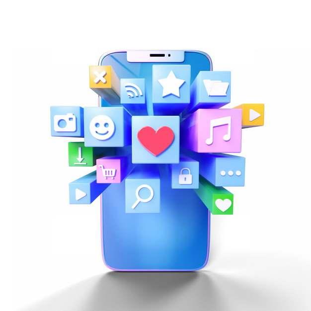 3D立体手机屏幕上凸出的APP应用图标309236png图片素材