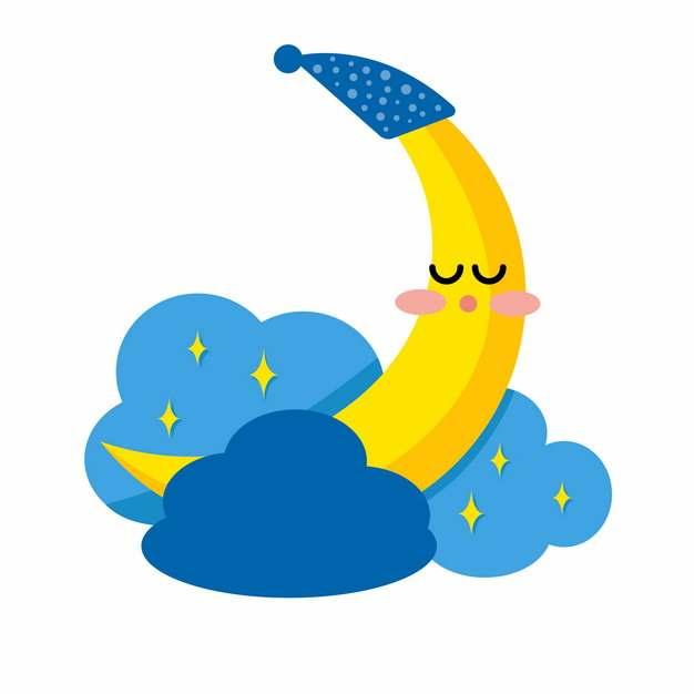 卡通弯月在蓝色云朵中睡觉546267png图片素材