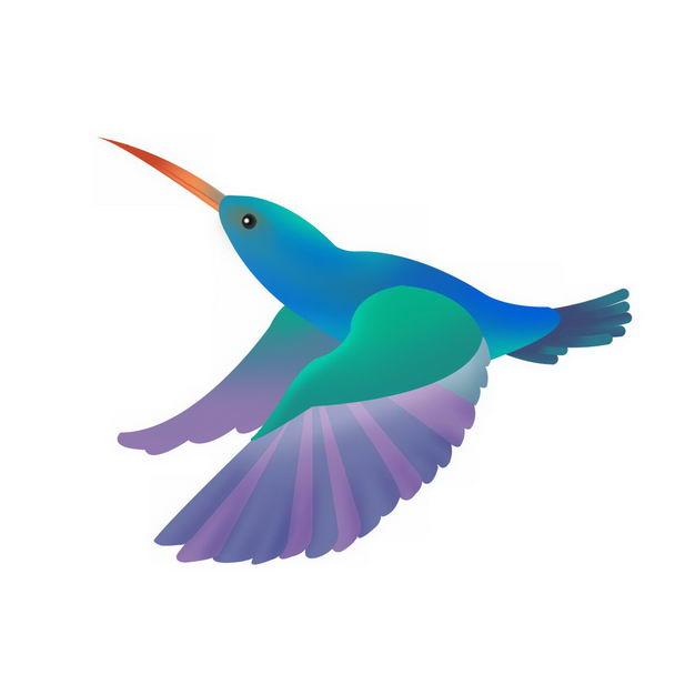 飞行中的卡通彩色蜂鸟小鸟130148png图片免抠素材 生物自然-第1张