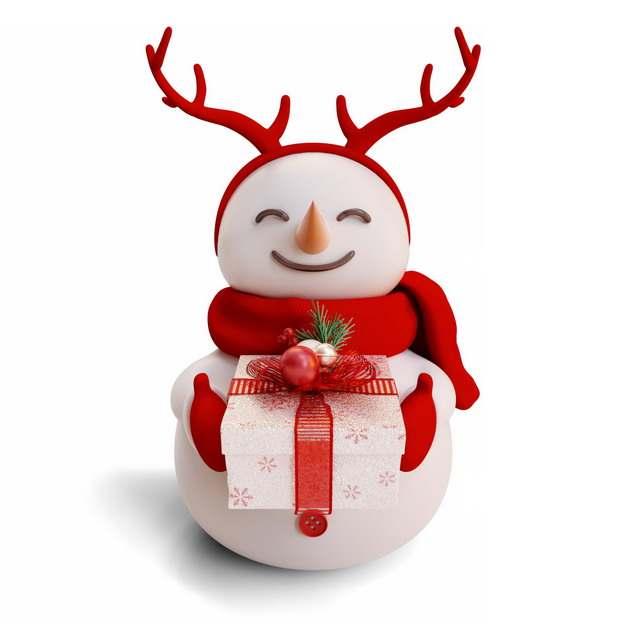 微笑的卡通雪人送你礼物885122png图片素材