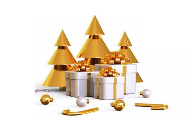 3D立体金色圣诞树和白色的圣诞礼物723850PSD免抠图片素材