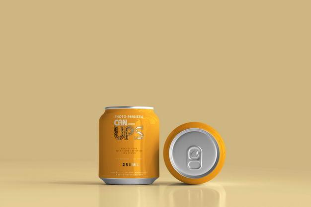 橙色250毫升易拉罐饮料包装显示样机824599PSD免抠图片素材 样机-第1张