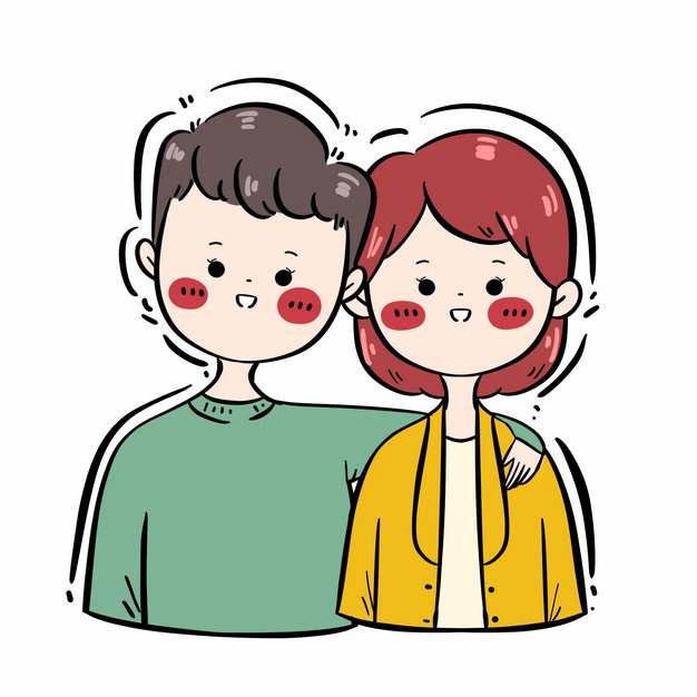 可爱亲密的情侣卡通人物画像618297PSD图片免抠素材