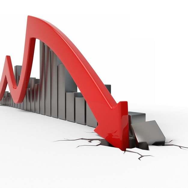 金属灰色光泽的3D立体柱形图和红色箭头裂开地面效果经济股市危机443773png图片素材