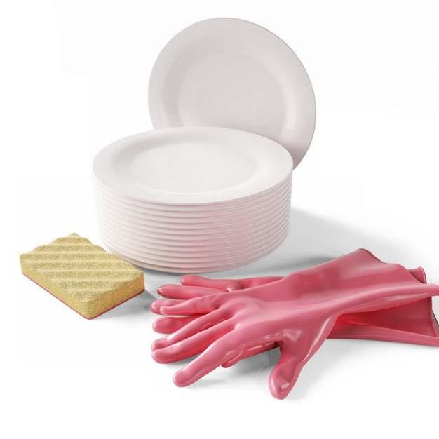 一套白色盘子和海绵百洁布海绵擦橡胶手套927831png图片素材