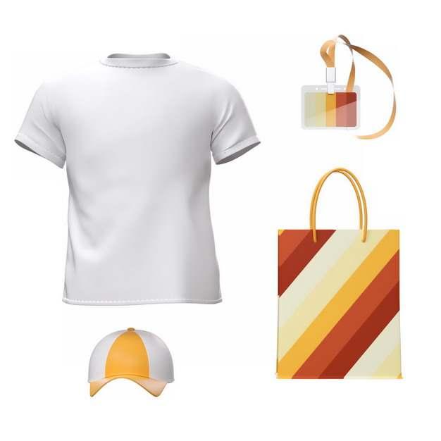 白色T恤和彩色鸭舌帽身份牌购物袋687127png图片素材