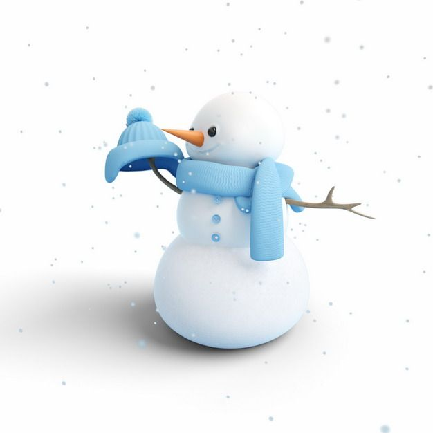戴着蓝色帽子和围巾的卡通雪人875543png图片素材