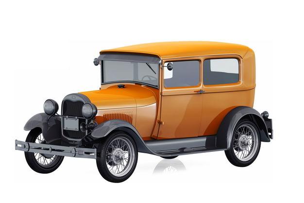 橙色的3D立体老爷车小汽车125456免抠图片素材 交通运输-第1张