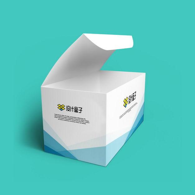 打开的白色纸盒子上的logo图案样机845147图片素材