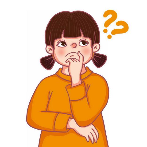 遇到难题的卡通女孩冒出了两个问号592378免抠图片素材