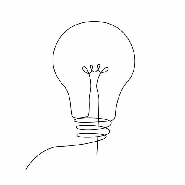 一根线条电灯泡手绘插画简笔画181644png图片素材