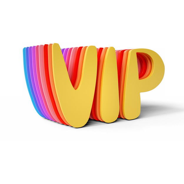 彩虹色3D立体C4D风格VIP艺术字体7517601png图片免抠素材 字体素材-第1张