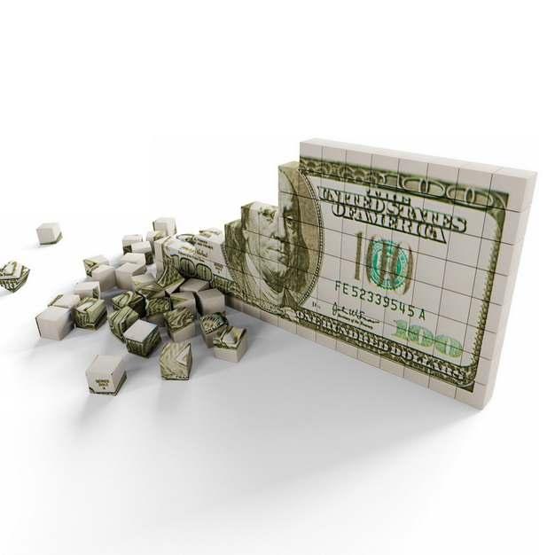 3D立体风格立方块组成的美元钞票倒塌了象征了经济股市危机706298png图片素材