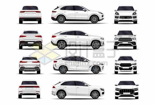 四款白色汽车SUV三视图529937图片素材