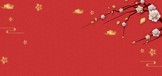 梅花和祥云红色中国风横版新年春节背景836477PSD图片免抠素材