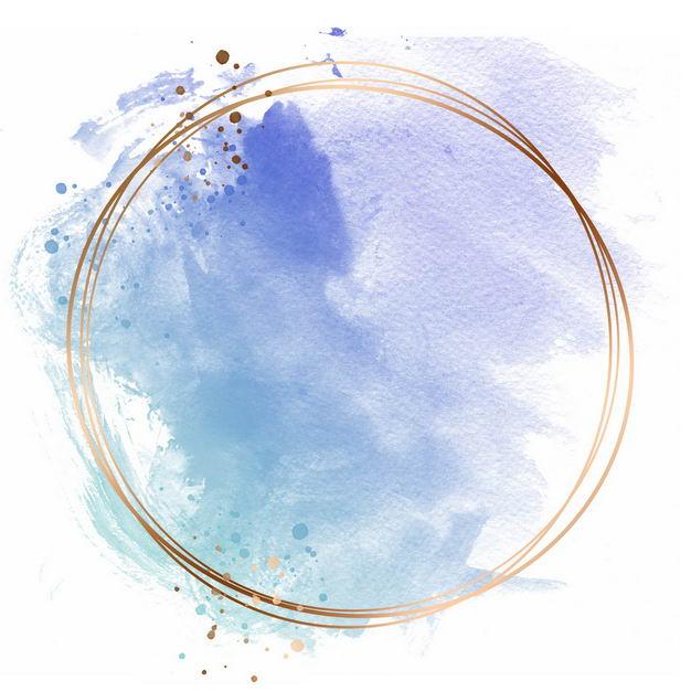 金色圆形边框和蓝色紫色墨水渍装饰201084免抠图片素材