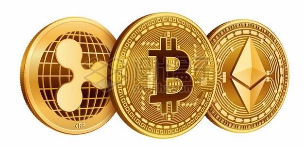 金色的区块链虚拟货币比特币以太币瑞波币硬币519404图片素材