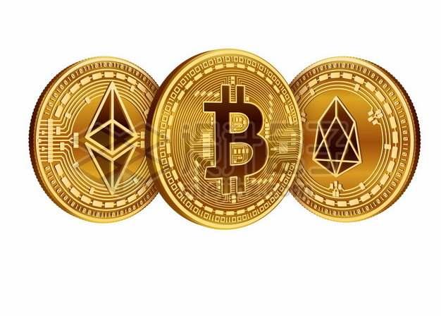 金色的区块链虚拟货币比特币以太币硬币656743图片素材