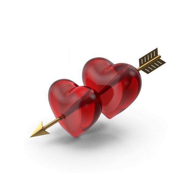 金色丘比特之箭穿过两颗红心995474免抠图片素材 节日素材-第1张