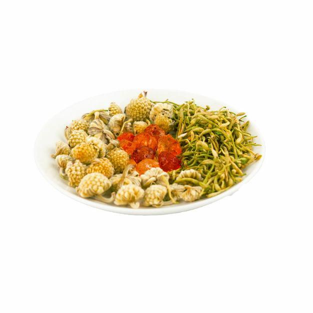 白色盘子中的干花茶菊花茶555594png图片免抠素材 生活素材-第1张