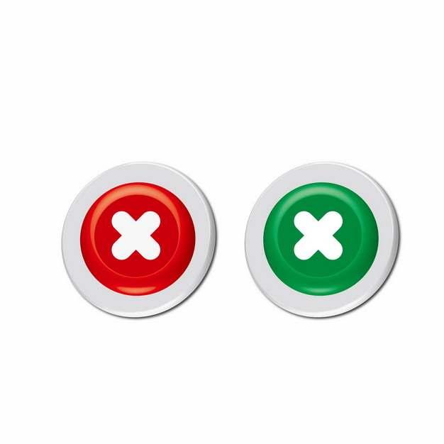 红色和绿色叉号按钮257320png图片素材