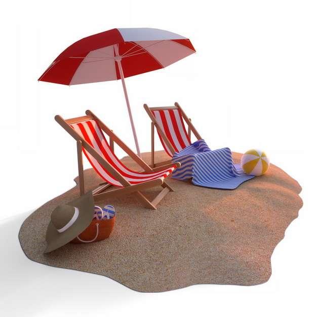 沙滩上的红白色相间的躺椅和沙滩伞等热带海岛旅游479120png图片素材