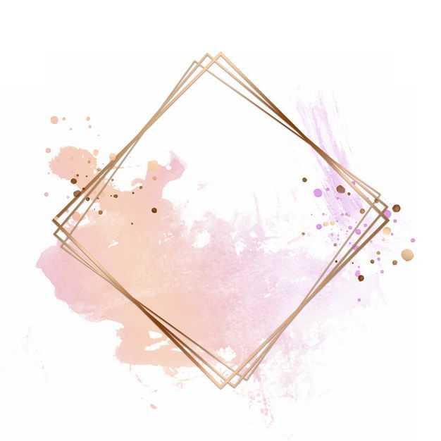 金色四边形边框和粉色墨水渍装饰995279免抠图片素材