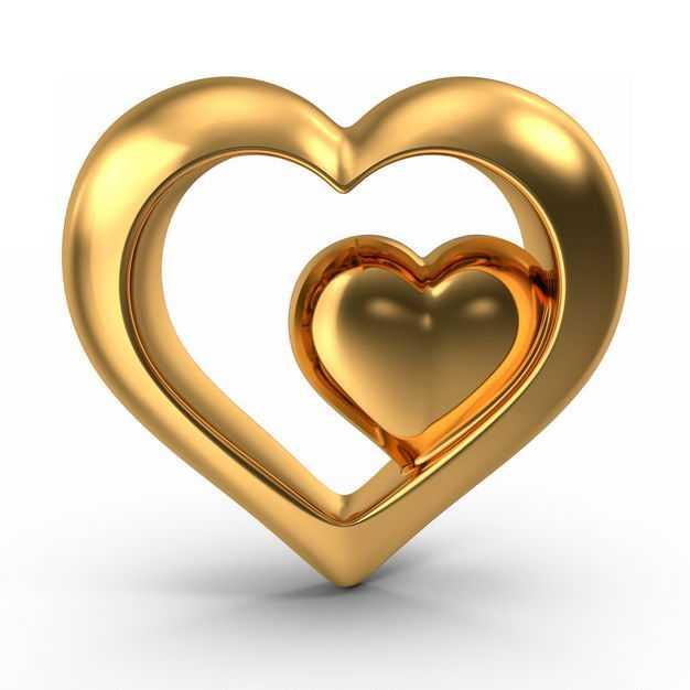 3D立体金色金属光泽空心心形图案478347免抠图片素材