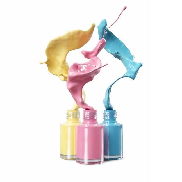 粉色黄色蓝色颜料从玻璃瓶中飞溅出来882634png图片素材