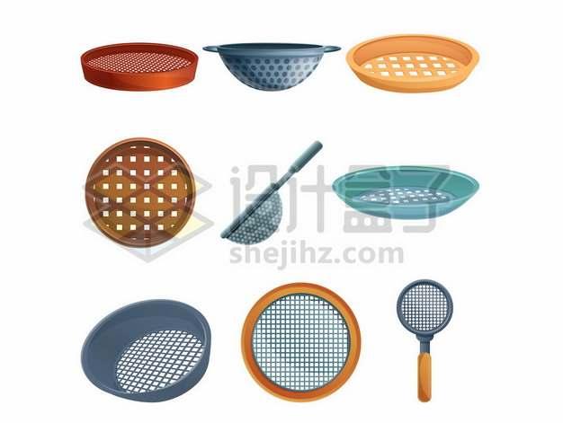 面粉筛子漏勺淘米篓厨房用品107619背景图片素材