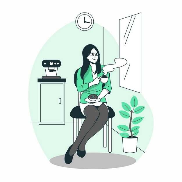 黑丝美女端着咖啡杯坐着手绘插画670710png图片素材